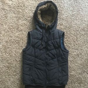 AE Puffer Vest with Fur-lined Hood